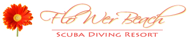 flower beach scuba diving resort in bohol logo