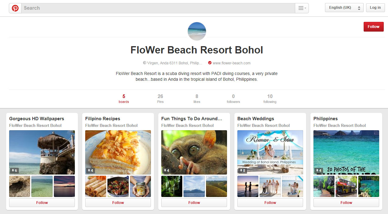 FloWer Beach Resort Pinterest Page